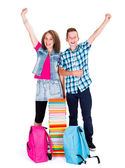 Excited Children Back to School — Stock Photo