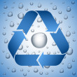 Blue recycle symbol on wet background — Stock Vector #32344863