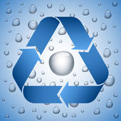 Blue recycle symbol on wet background — Stock Vector