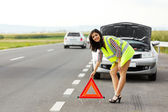 Placing Emergency Triangle — Stock Photo