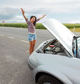 Woman having Problem With Broken Car — Stock Photo