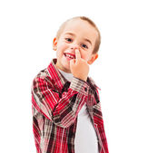 Kid picking Nose — Stock Photo