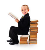 Wise Child Reading Book — Stock Photo