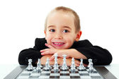 Kid ready to play chess — Stock Photo
