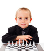 Playing Chess with little boy — 图库照片