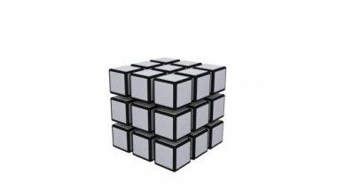 Cube falling apart — Stock Video