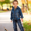 Cool kid playing in park — Stock Photo