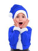 Niño disfrazado de papa noel azul — Foto de Stock