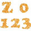 Numbers made of corn seeds — Stock Photo
