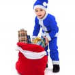 Little blue Santa boy with gift bag — Stock Photo #34174067