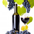 Bottle and glass of red wine whit grape clusters — Stock Photo