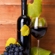 Red wine with cheese snack and blue grape — Stock Photo