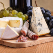 Stock Photo: Camembert, blue cheese and dry sausage snack