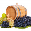 Small barrel in a bunch of grapes — Stock Photo