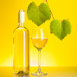 Stock Photo: Bottle and glass of white wine with grape leaves