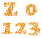 Numbers made of corn seeds — Stockfoto