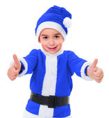 Little blue Christmas boy showing thumbs up — Stock Photo
