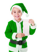 Little green Santa Claus boy showing wish list — Stock Photo