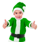 Little green Christmas boy showing thumbs up — Stock Photo