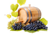 White and blue grape clusters around barrel — Stock Photo