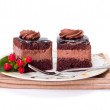 Stock Photo: Two chocolate layer mousse cake on plate