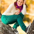 Beautiful teen girl having fun outdoors — Stok fotoğraf