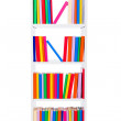Stock Photo: Narrow book shelf