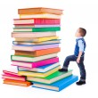 Little boy looking up to stacked big books — Stock Photo
