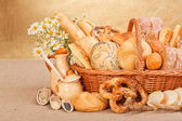 Fresh bakery products and ingredients — Stock Photo