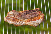 Fried meat slice on barbecue grid — Stock Photo