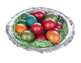 Easter Eggs in silver plate, isolated on white — Stock Photo