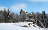 Oil wells winter — Stock Photo