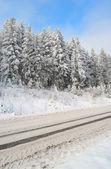 Road is snow-bound — Stock Photo