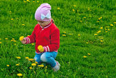 Girl collects flowers — Stock Photo