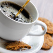 Coffee and oatmeal cookies on wooden table — Stock Photo #19861443