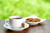 Coffee and oatmeal cookies on nature background — Stock Photo