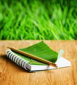 メモ帳に横たわって、木製ボード — ストック写真