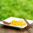 Egg noodles on nature background — Stock Photo