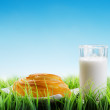 Fresh cinnamon bun and glass of milk on sky background — Stock Photo