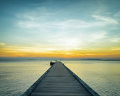 Boat pier at sunset — Stock Photo