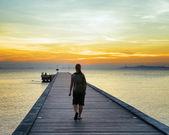 日没時のボートの桟橋 — ストック写真