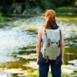Young woman hiking with backpack — Photo