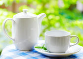 Cup of tea on nature background — Stok fotoğraf
