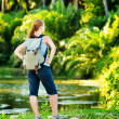 Young woman hiking with backpack — Stock Photo #27219067