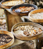 Various spices are drying at open air — Stock Photo