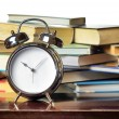 Alarm clock and books. Education concept — Photo