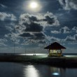 Gazebo and moon in water's reflection. Night landscape — Stock Photo #31871263
