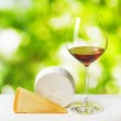 Cheese and glass of wine on nature background — Stock Photo