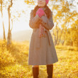 Young woman walking in the fall season. Autumn outdoor portrait — Stock Photo #32385963