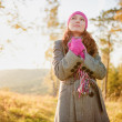 Young woman walking in the fall season. Autumn outdoor portrait — Stock Photo #32385975